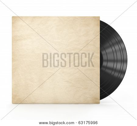 Old vinyl record in a paper caseon an isolated white background