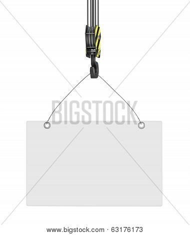 Yellow crane hook lifting on an isolated white background