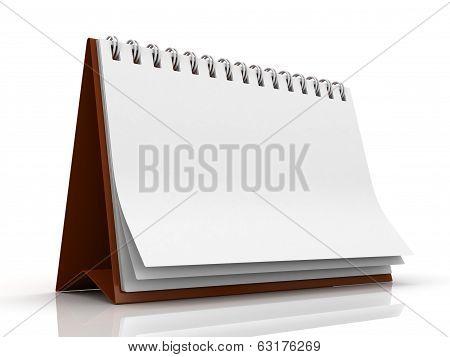 Blank paper desk spiral calendar with reflection