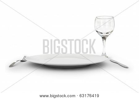 wineglass, a fork, knife and a plate. 3D image. On a white background