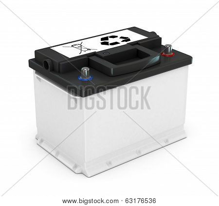 Battery car on white background, 3d