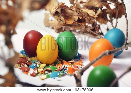 Easter Eggs On Broken Shells