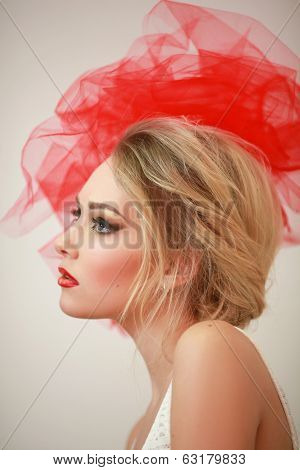 profile of a girl with a bow