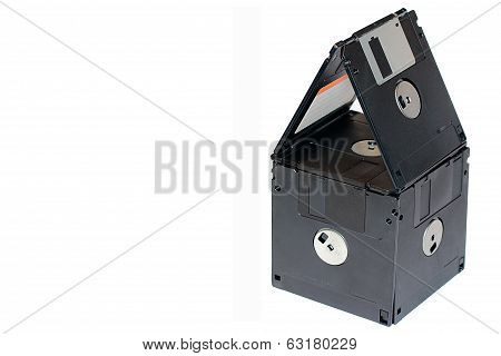 Mortgage Floppy Discs With Isolated Background