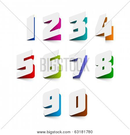 Paper cut numbers. Vector.
