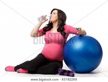 Sports Pregnant Young Woman. Fitness.