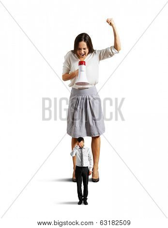 dissatisfied woman shouting at tired man. isolated on white background