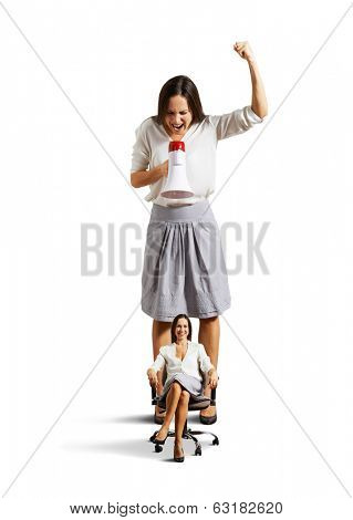 displeased woman and smiley calm woman over white background