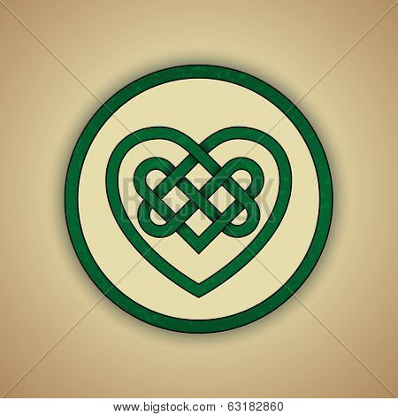 Celtic Heart Knot Symbol of Love. Vector illustration of green celtic knot with slight grunge texture.