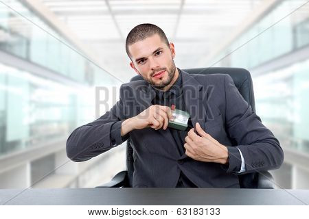 young business man on a desk at the office