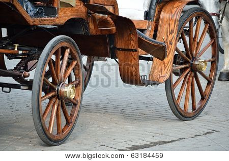 Wooden Wheel Cab In Cracow