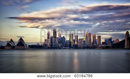 Sydney financial district and the Opera House at sunrise