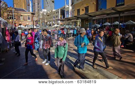 Asian tourists enjoying a holiday in Sydney