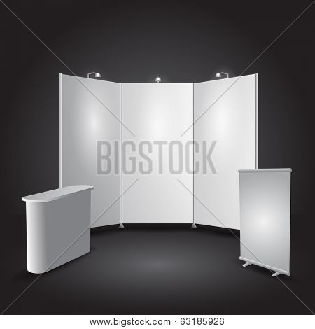 Expo stand exhibit illustration - objects all separated