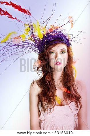 Colorful Portrait Of Beauty Woman.
