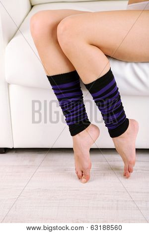 Gaiters on perfect woman legs, close up