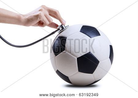 Soccer Ball With Hand And Stethoscope