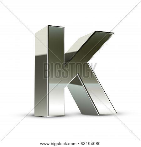 3D Silver Steel Letter K