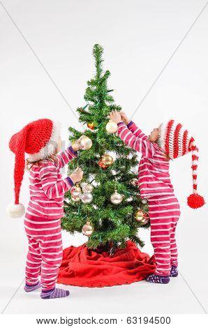 Twins And A Christmas Tree