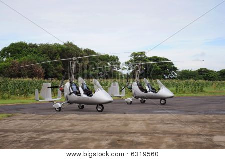 Two autogyros landed