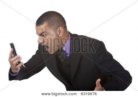 Business Man Screams In Telephone Because Of Stress