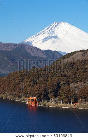 Mountain Fuji at Ashi lake hakone in winter season