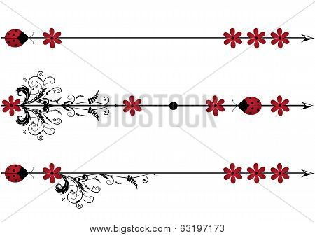 Vector Vignette With Ladybird,flowers And Arrow