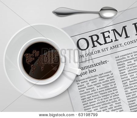 Coffee cup on newspaper