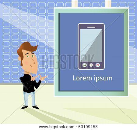 Smartphone presentation cartoon
