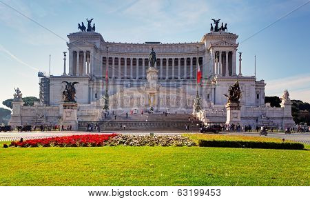 Rome-august 10:the Altare Della Patria On August 10, 2013 In Rome, Italy. The Altare Della Patria Is