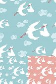 Seamless Pattern Of Stork Flying With Newborn Baby