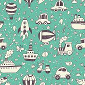 Cute retro seamless pattern with transportation objects. Vintage doodle background in vector with ai