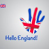 Template - hello England. Background-hand with the flag of UK and London's major attractions - Big B