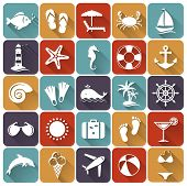 Set Of Sea And Beach Flat Icons. Vector Illustration.