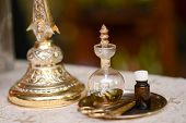 stock photo of christening  - Oil prepared for baptism baby holy Christian Church - JPG