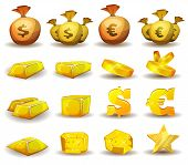 stock photo of currency  - Illustration of a set of glossy and bright cartoon gold and credits icons ingot and symbols of currency for game user interface - JPG