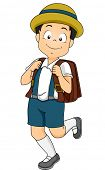 Illustration of a Male Japanese Student Wearing a Common Grade School Uniform