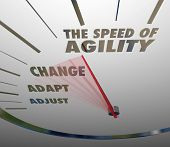 image of speedometer  - Speed of Agility Words Speedometer Fast Action Change Adapt - JPG