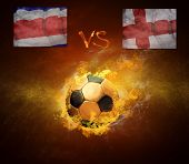 Hot soccer ball in fires flame, game Costa Rica and England
