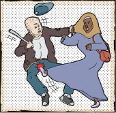 pic of yanks  - Muslim woman kicking man pulling on her head scarf - JPG