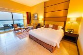 ABU DHABI, UAE - MARCH 25: Luxury bedroom of Khalidiya Palace by Rotana on March 25, 2014, UAE. Rota