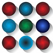 Circle design elements with 3D effect shape. No gradient. Vector art.