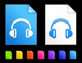 Headphones Icons on Colorful Paper Document Collection