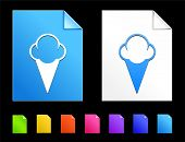 Ice cream Icons on Colorful Paper Document Collection