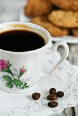 Cup Of Coffee, Cookies And Coffee Beans