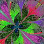 Beautiful Multicolor Fractal Flower In Stained Glass Window Style. Computer Generated Graphics.