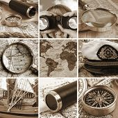 stock photo of longitude  - Marine collage with old compasses and maps - JPG