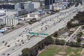 LOS ANGELES, CALIFORNIA - March 22, 2014:  Aerial view of free flowing traffic on Los Angele's giant