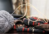 foto of knitting  - Knitting knitting handmade in his spare time hobbies - JPG