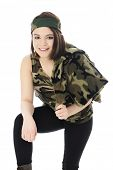 A beautiful teen girl leaning forward in her camouflage headband and shirts.  She's also slung a cam